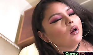 Cute obese trans chick tugs her penis