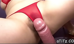 Alluring asian tames fellow with titty fuck during bm sex