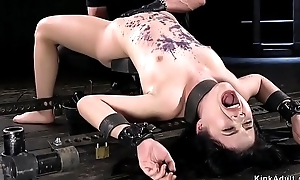 Asian babe all round metal device anal toyed
