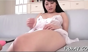 Enticing oriental delights with rousing fellatio together with schlong wanking