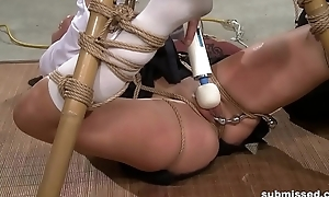 Asian slave is hogtied, electro painful with the addition of dildo punished