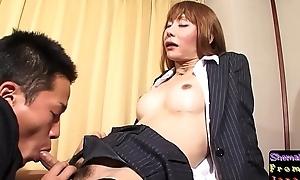 Fishnet ladyboy sucking locate before sex