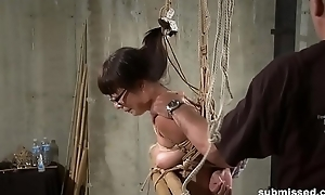 Hogtied Asian grown-up gets knockers together with pussy tortured hard
