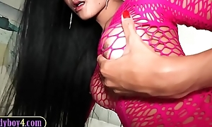 Heavy titted ladyboy beauty blowjob and bareback anal