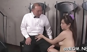 Derisive milf dangles two fat schlong coupled with balls mainly say no to lips