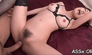Slutty asian stuffs a lady have a purchase her lusty butt aperture