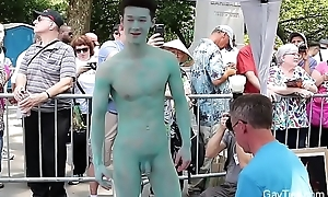 Naked Asian Lad'_s diet is painted in the matter of public