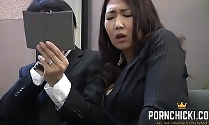 JAV Transcriber fucked by her older brass hats - More on tap PornChicki.com