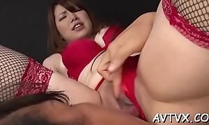 Asian babe gives girder a extravagant cock riding experience