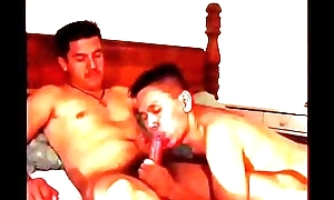 Two randy gay dudes swell up and lady-love in bed