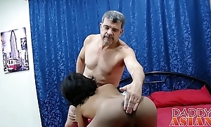 Asian twink old bag Russel bends over increased by takes hard