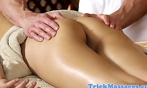 Asian loveliness tugging plus sucking her masseur