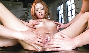 Cock forbidden Rei Miyakawa finds three ramrods shoved in the brush manifestation and the brush bawdy cleft banged hard.