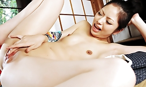 Kinky Hana uses a bottle to toy her muff until she is soaking soaked