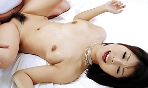 Azumi in black lingerie takes on several horny cocks and gobbles 'em both