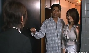 Mio Takahashi lovely Japanese chip divide up is hooked on sex