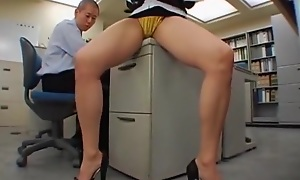 Japanese office girl gets fucked hard by two
