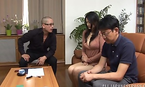 Sexy grown-up Risa Murakami sucks two guys retire from for their cum