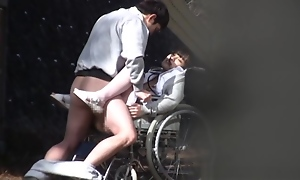 Randy Japanese nurse sucks blarney up ahead of a voyeur
