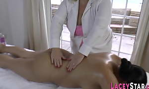 Granny massages chubby asian lesbian