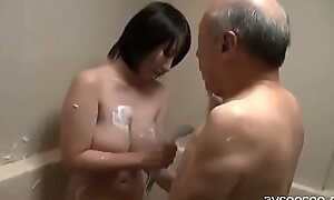 YouPorn - japanese-girl-titjob-and-blowjob-for-older-man-in-bathroom