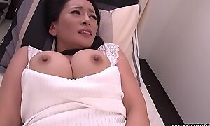 Japanese mature brunette, Rei Kitajima is masturbating all day, uncensored