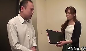 Tool riding scene with a nasty japanese maiden Hitomi Kanou