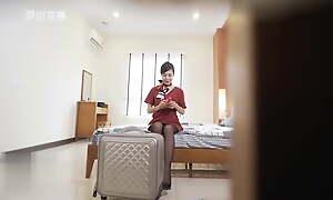 Stewardess masturbating was found by a thief