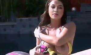 Hansika Motvani – nude bikini shoot at pool