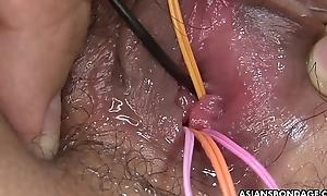 Bound Asian babe Ryo Akanishi got her ugly pussy toyed