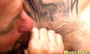 Inked Asian lay out interchanging turns with busty sex-crazed pop